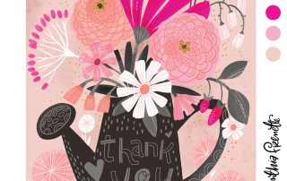 floral thank you illustration