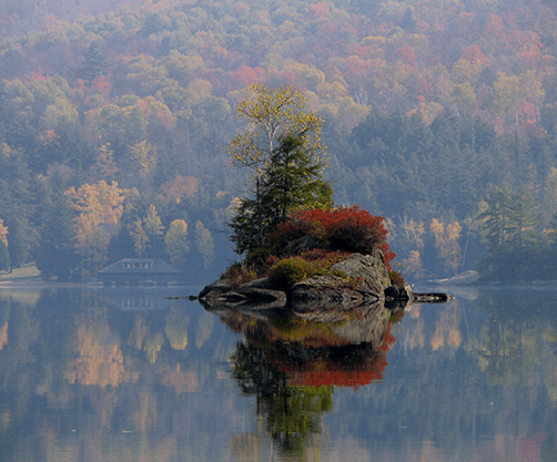 An island in the Adirondacks