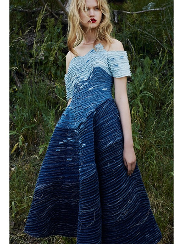 Layered Denim Gown