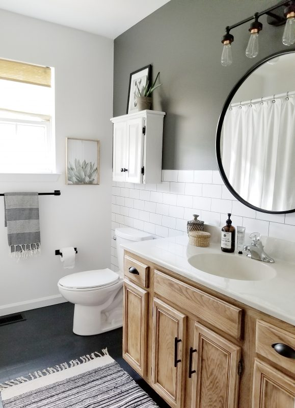 Quick and easy budget bathroom makeover. Cynthia Harper's 2 days 200 dollars challenge.