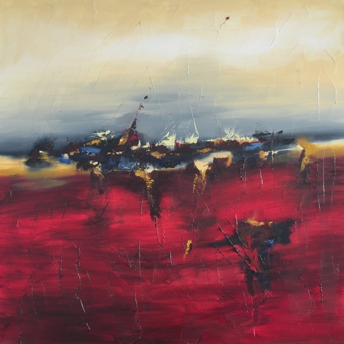 Penumbra Sunset by Cynthia Ligeros, red abstract art painting