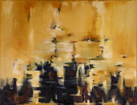 """Sierra Fades 14"""" x 18"""" Abstract Oil Painting by Cynthia Ligeros"""