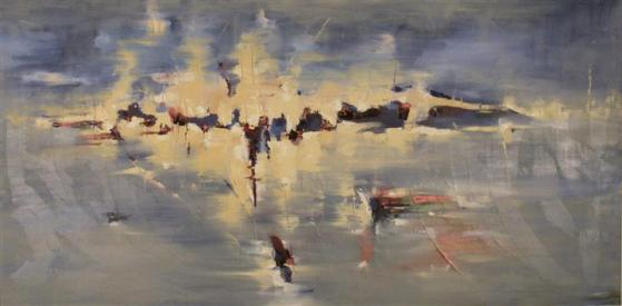 """Vampyre Moon 24"""" x 48"""" Abstract Oil Painting by Cynthia Ligeros"""