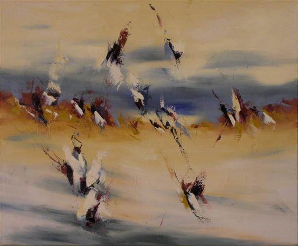 """Wind Whispers 20"""" x 24"""" Abstract Oil Painting by Cynthia Ligeros"""