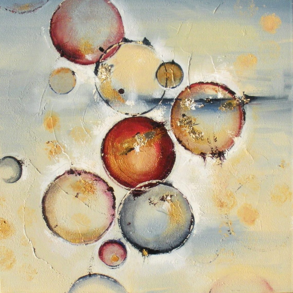 """Silent Radiance 14"""" x 14"""" Abstract Oil and Gold Leaf by Cynthia Ligeros"""