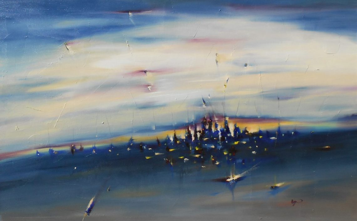 """Between 30"""" x 48"""" Abstract Oil Painting"""