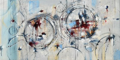 If I Could Go Far Away 24x48 Abstract Oil Painting
