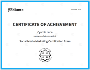 Social Media Marketing Certificate, Cynthia Luna