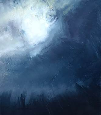Oil on metal, pale moon lighting part of the sky while being overtaken by an indigo storm.
