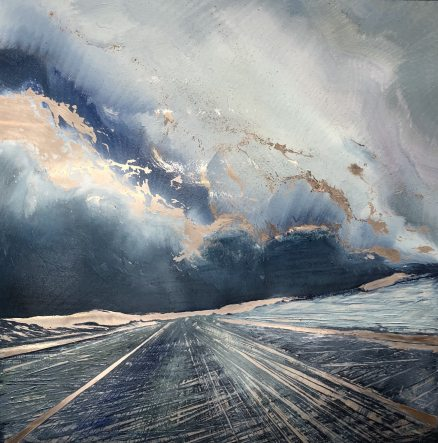 This contemporary oil painting by artist Cynthia McLoughlin © 2017 depictes a deep blue sky with white clouds over a tilted blue/grey road to infinity.