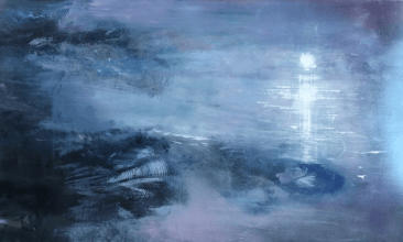 Oil on metal, low moon reflecting on the water with violet mist hovering over the indigo shore.
