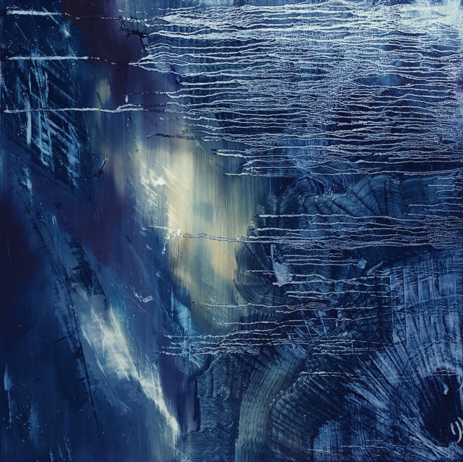 Abstract oil painting on a brushed aluminum panel. Dark and moody indigo layers over a distant pale yellow light. A dark vortex in the lower right corner with concentric marks pulling you to the dark center. Silver drip lines defy gravity and float horizontally over the upper right portion of the panel, decreasing in length to the middle and then floating above the vortex.