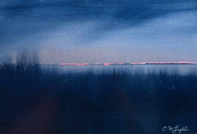 Oil on metal, indigo beach grass looking over the sound to the glow of orange lights on the horizon.