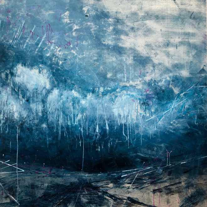 Original oil painting on metal, an indigo sky with drippy clouds and silver snow over a dark road.