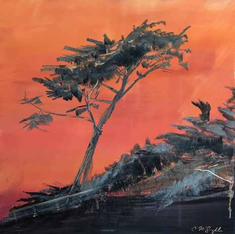 """Carmel by the Sea, 27"""" x 27"""", oil paint on a brushed aluminum panel, $2250"""