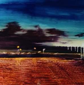 Landscape oil painting on aluminum panel