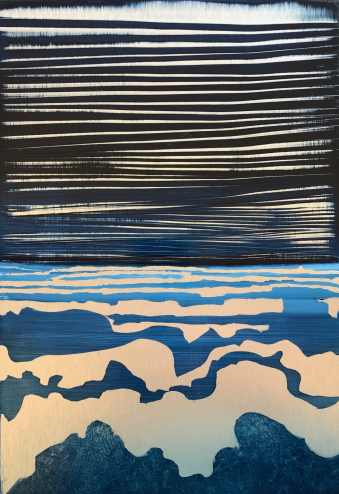 Original oil painting on metal by Cynthia McLoughlin, silver shapes in the foreground layer to the horizon in abstract shapes with a dark, striated sky.