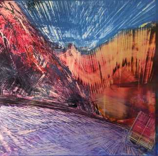 An original oil painting by Cynthia McLoughlin © 2019. Depicts a blue sky over a purple road winding through a red and amber abstract mountain pass.