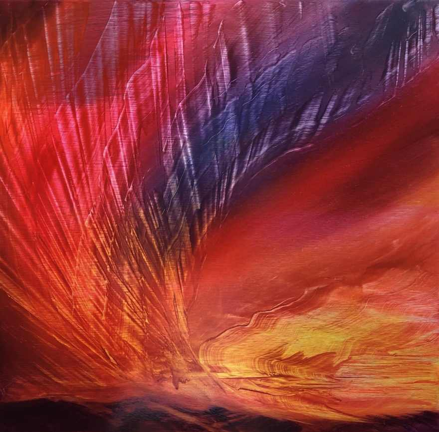 Amazon Burning, oil on brushed aluminum, 27 x 27, $2250