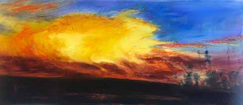 "Firestorm, oil on brushed aluminum, 27"" x 51"", $4100"