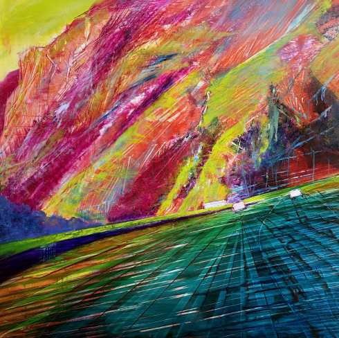 Landscape painting of a mountain pass and road in rainbow bright colors.