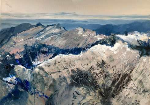 """Ridgelines"", by Cynthia McLoughlin, 40"" x 52"", oil on aluminum, 2018, $6900 – Version 2"