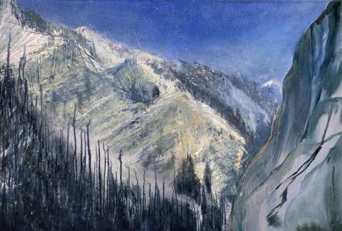 Snow Squalls, Provo Canyon, oil on aluminum panel, 39 x 51, $6900