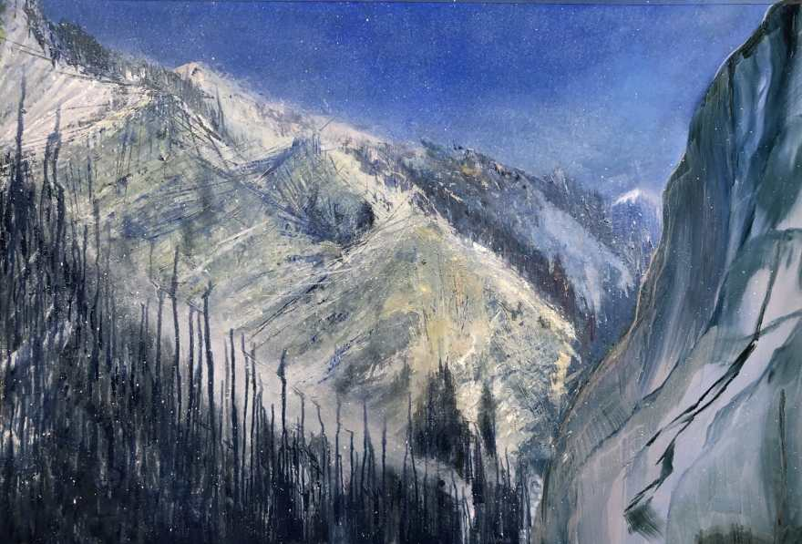 Snow Squalls, Provo Canyon, oil on aluminum panel, 39 x 51, $6900