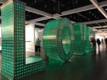 Love in giant illuminated block lettered message at the LA Art Show, 2020
