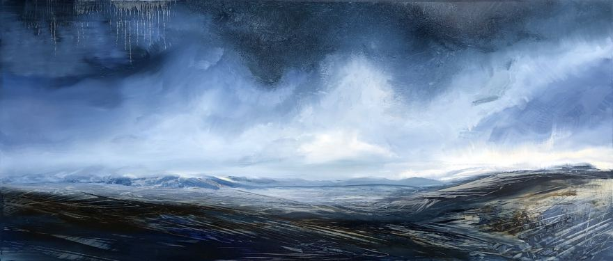 Deep blue storm clouds drift over the valley and distant mountains, deep shadows in the foreground create more drama in this horizontal oil painting by artist Cynthia McLoughlin.