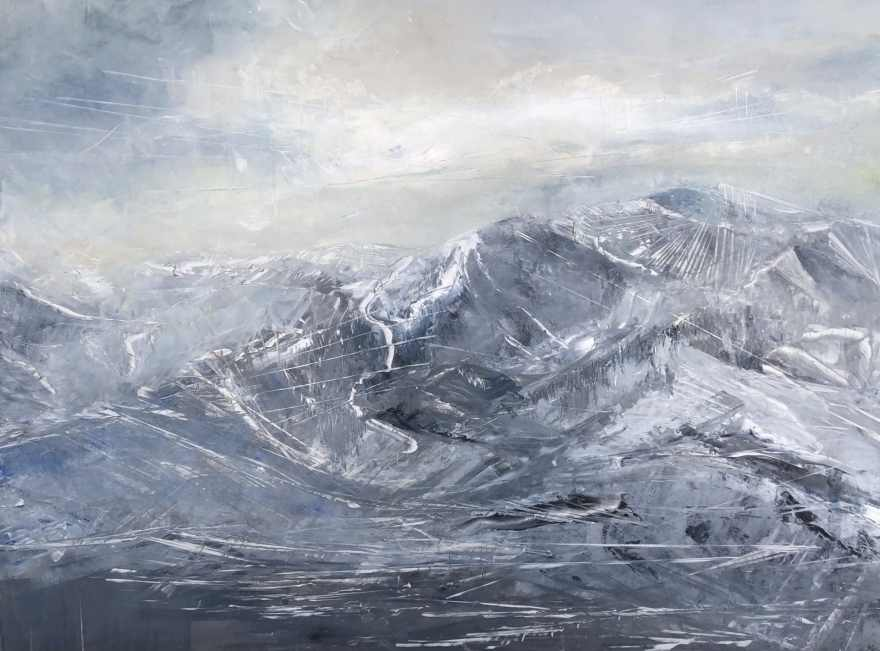 Elevation Dream in an original, contemporary mountain oil painting that depicts the back side of the Wasatch Mountain Range in Park City, Utah.