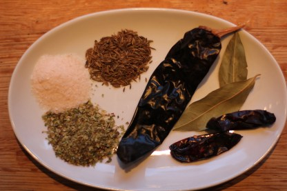 Ropa Vijea seasonings dried smoked mexican chillies, bay leaves, whole cumin, oregano and garlic powder