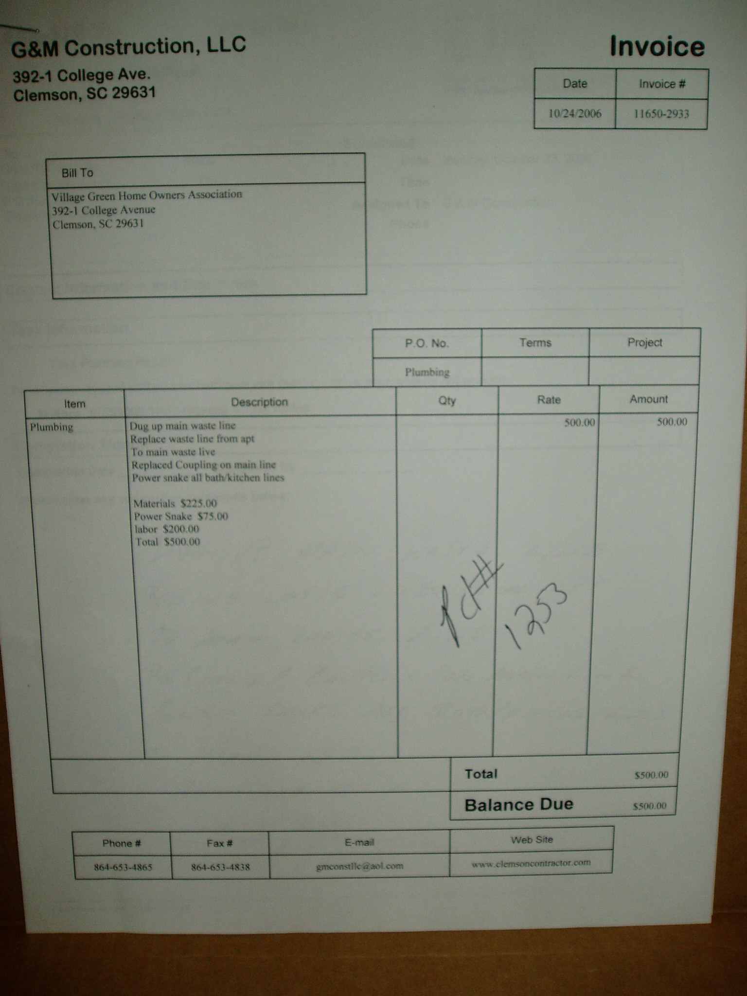 kitchen faucet repair american standard faucets date: 10-24-06 ;unit: #missing from invoice ;cost: $500.00 ...