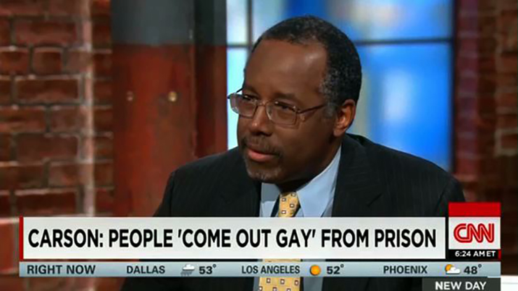 GOP Presidential Candidate Ben Carson: Prisons Prove Being Gay is a Choice