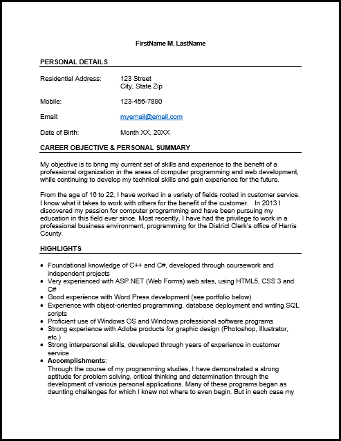temp job resume sample