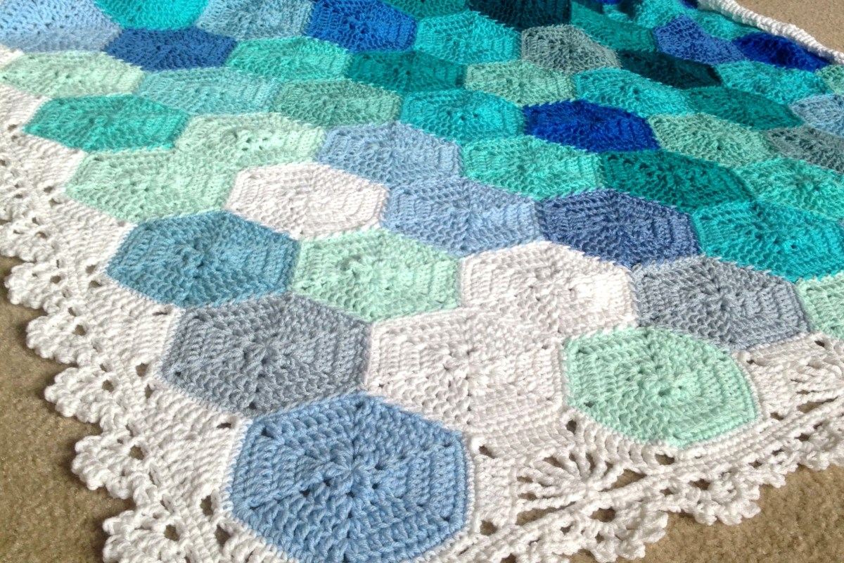 Color Palettes Celebration featuring the Geometric Lace Crochet Blanket