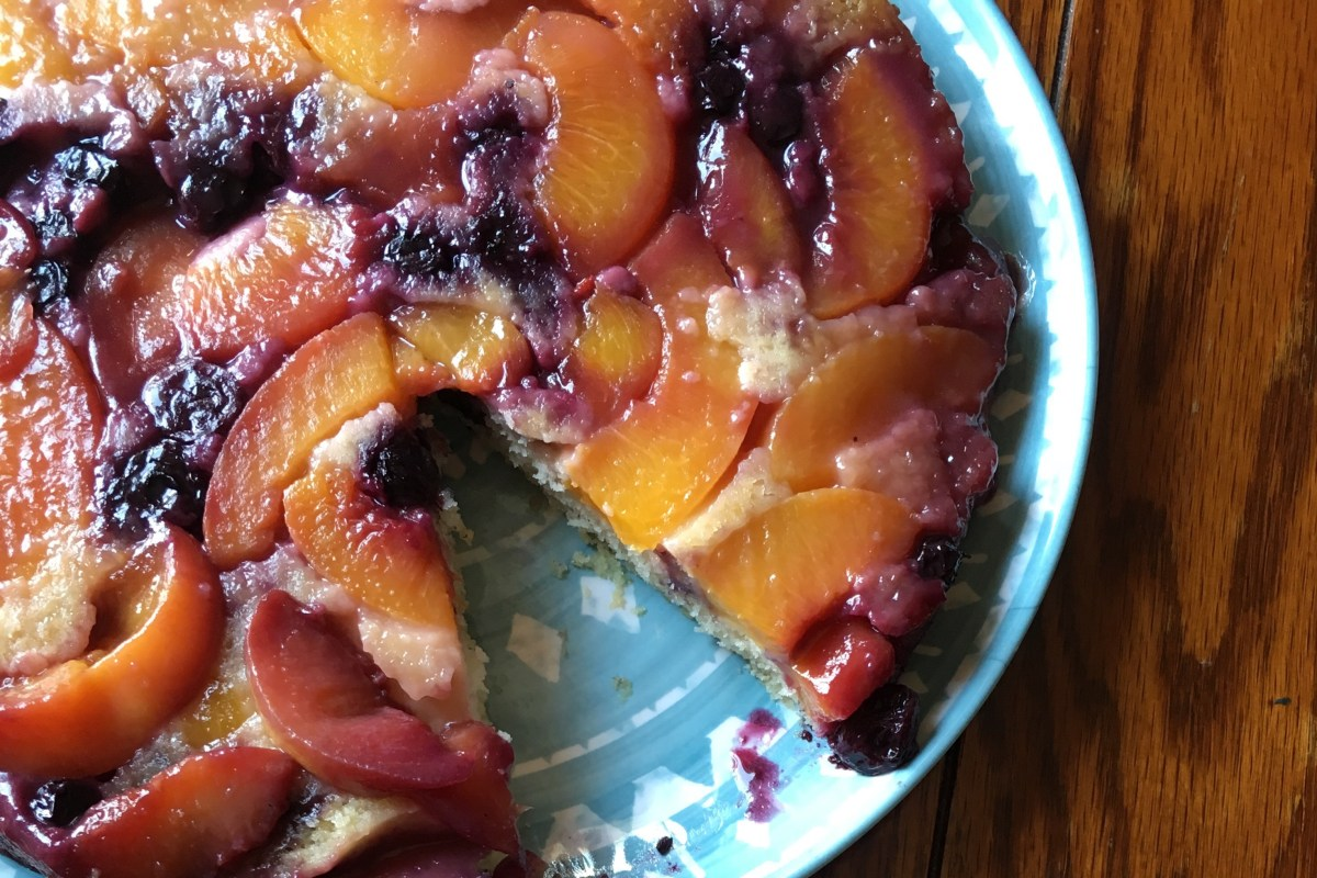 Peach & Blueberry Upside Down Cake