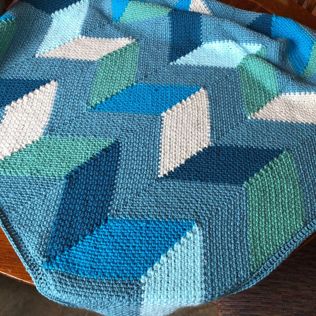 Beach Hut Crochet Blanket Pattern made with Scheepjes Colour Crafter