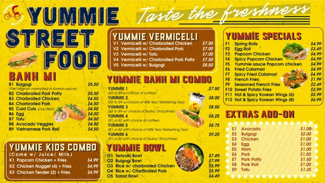 Yummie Street Food Cypresswood Menu 2