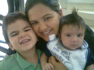 Carmella and her sons Alex and Luca