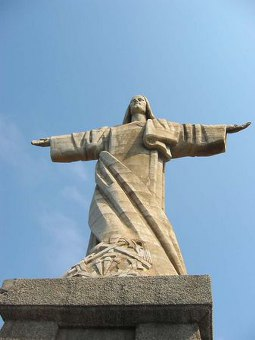 Statue of Christ atop the hillside in Garajau, Madeira