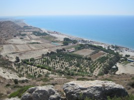 Views from above Ancient Kourion Roman ruins down to Curium Beach, Limassol