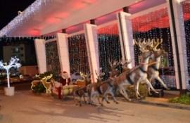 Santa Claus is flying away