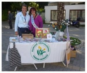 Sue Tilt (left) recently fundraising for Tulips in Girne