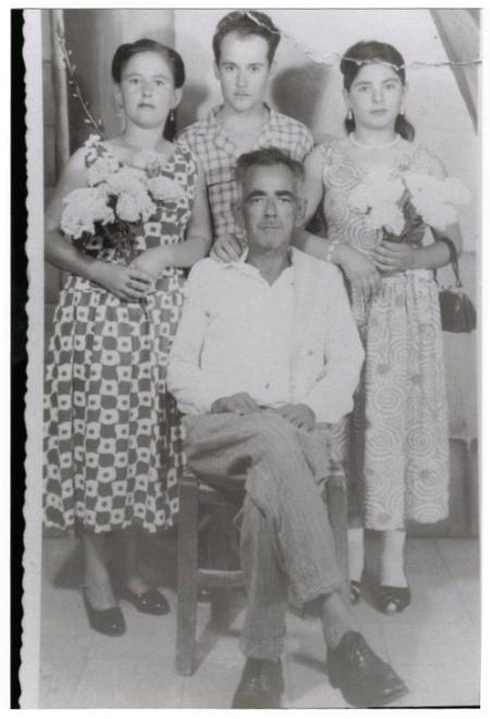 Rahme and Sabriye Veli with their father Veli Mustafa 'Kirlapo' (my paternal grandfather) 1957