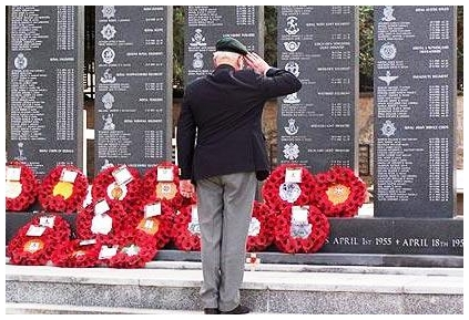 Veteran salutes fallen colleagues Kyrenia Old British Cemetery 2012