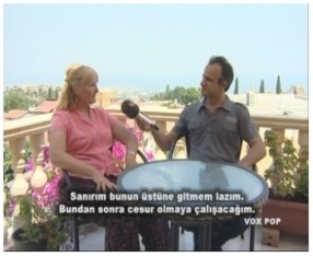 Josephine Mulcahy speaking to Engin Dervişağa