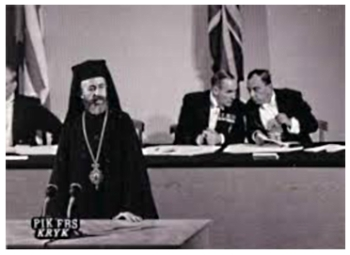 Makarios speaking at the Treaty of Guarantee in 1960 meeting.