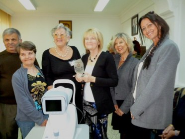 NCCCT Committee with their plaque and Eye Testing Equipment