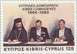 Postage stamp recording the formation of the Republic of Cyprus